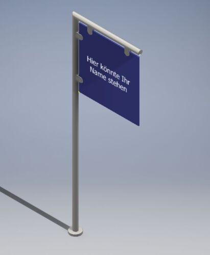 Rohr Schild Firmenschild Reklame Edelstahl Werbeschild MOD L Ständer