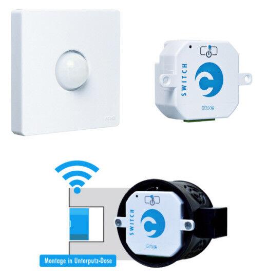 Funk-Bewegungsmelder für Innen und 2 Funk Einbauschalter Set 10W, Farbe weiß