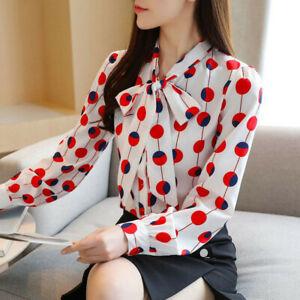 Autumn Women Bow Tie Neck Polka Dot Long Sleeve Ladies Chiffon Shirt Blouse Tops