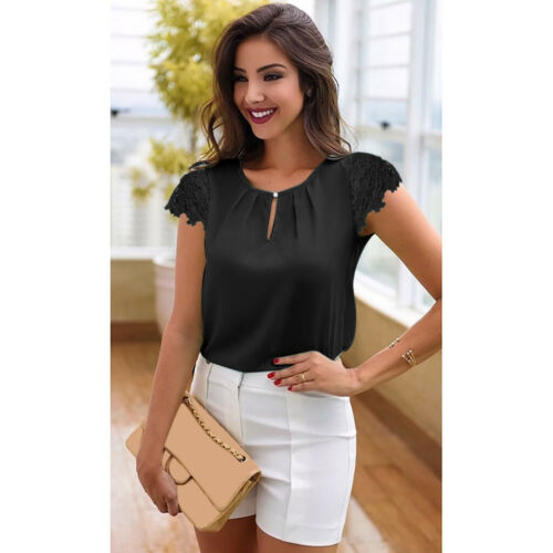 Women Summer Casual White Tops Blouse Short Sleeve Lace Chiffon T-Shirt Ladies