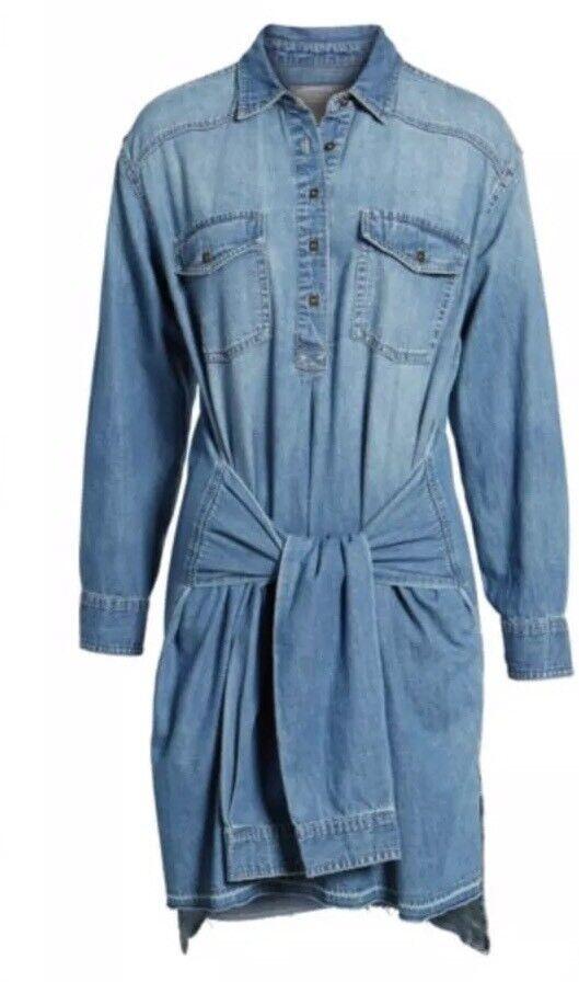 NWT Current Elliott Jeans - The Twist High Low Denim Shirt Dress Größe 0 XS