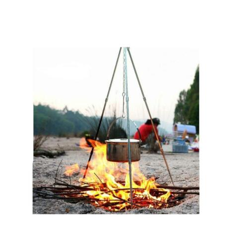 Camping Outdoor Cooking Alloy Tripod Picnic Pot Fire Grill Oven Hanger Stand