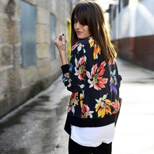 Hot Vintage Women Outwear Ladies Printed Zipper Blazer Jacket Coat Cardigan Tops