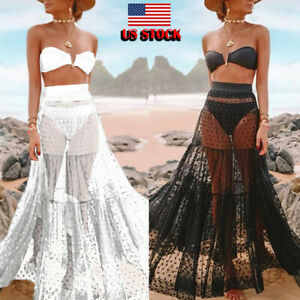 d4301a74e1 US Mesh Sheer Soft Bikini Swimwear Cover Up Long Maxi Skirt Tube Top ...