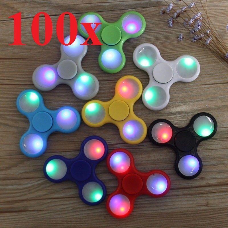 Wholesale LOT 100X led HAND SPINNER TRI FIDGETs STEEL BALL TOY EDC FINGER GYRO