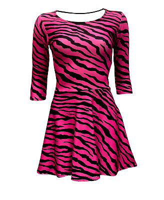 Women/'s Retro Pink Zebra Animal Skin Pattern 3//4 Sleeve Skater Dress Fashion