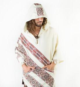 Handmade-Poncho-with-Hoodie-White-YAK-Cashmere-Wool-Earthy-Tribal-Pattern