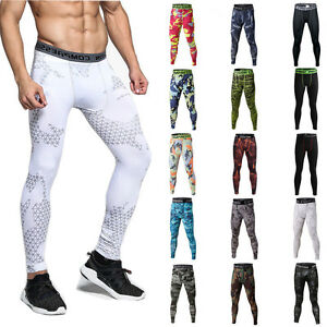 Details about Mens Workout Compression Tights Apparel Gym Under Base Layer Running Long Pants