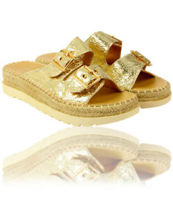 Women-039-s-Ladies-Flat-Wedge-Espadrille-Mule-Sandals-Slip-On-Platform-Summer-Shoes