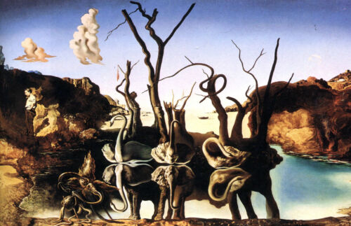 Framed Print Replica Picture Poster Salvador Dali Swans Reflecting Elephants