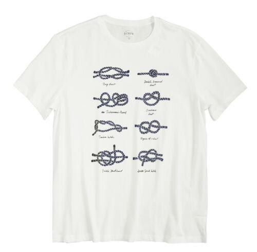 NWT Ivory White Nautical Knots Graphic Cotton Tee Mens XS J.Crew Factory