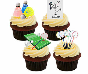 Image Is Loading Badminton Edible Cupcake Toppers Standup Fairy Cake Decorations