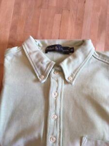 Ralph-Lauren-Mens-Polo-Shirt-Long-Sleeve-Light-Green-Size-M-Excellent-Condition