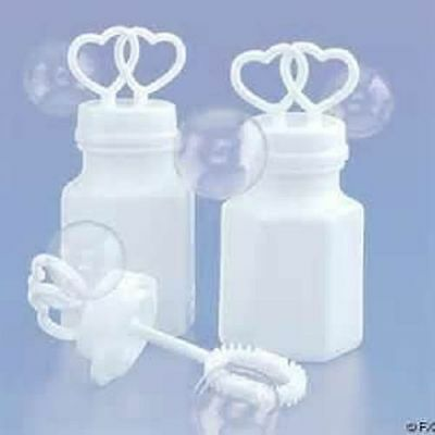 72 DOUBLE HEART WEDDING BUBBLES White Bridal Party Favor Free Shipping