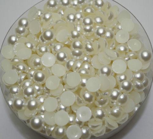 2000pcs Ivory round flat back Half Pearl Bead nail art/card making 2/3/4/5/6/mm