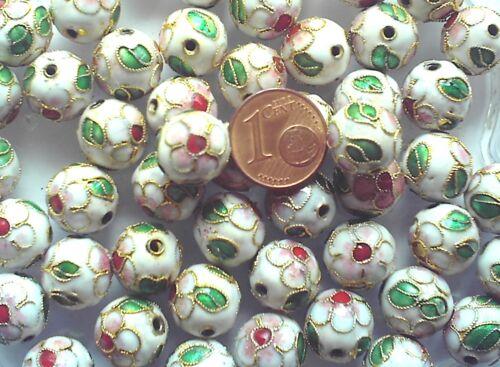 10 perles cloisonnées chinoises rondes 12 mm BLANCHES DIY bijoux déco