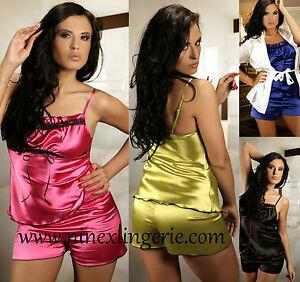 Plus-One-Size-Sexy-Lingerie-Satin-Pyjama-Set-8-10-12-14-16-18-20-22-24-Cami-Set