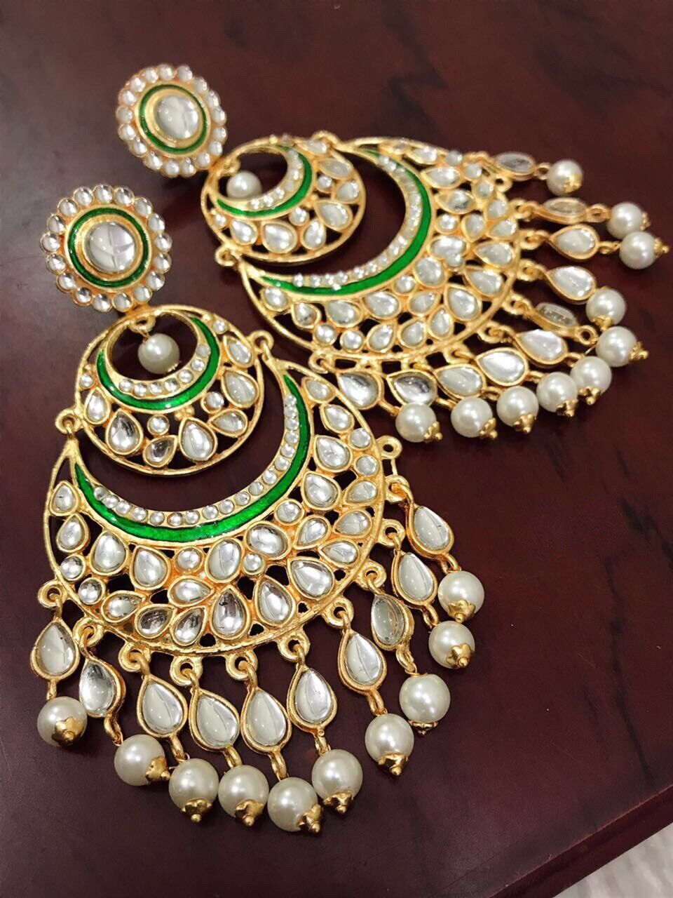 USA Indian Pakistani Bollywood Ethnic White Kundan Pearl Green Chandbali Jhumka