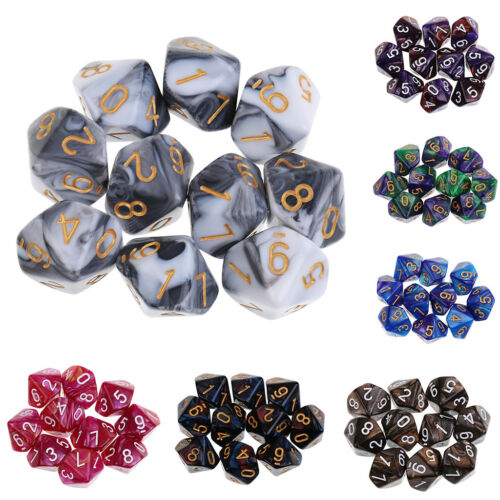 10pcs 10 Sided Dice D10 Polyhedral Dice for Dungeons and Dragons Games White
