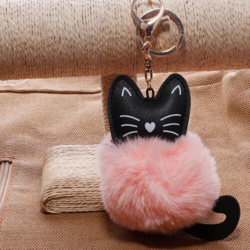 Lovely Keyring Soft Fluffy Fur PU Cat Handbag Pendant Pompom Ball Keychain Gifts