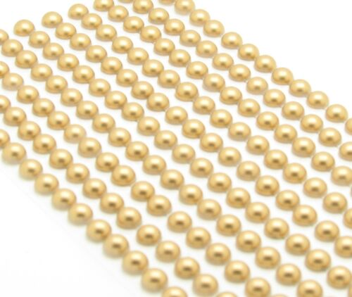 400 SELF ADHESIVE ROUND GOLD PEARLS STICK ON EMBELLISHMENT 6MM FLAT BACK