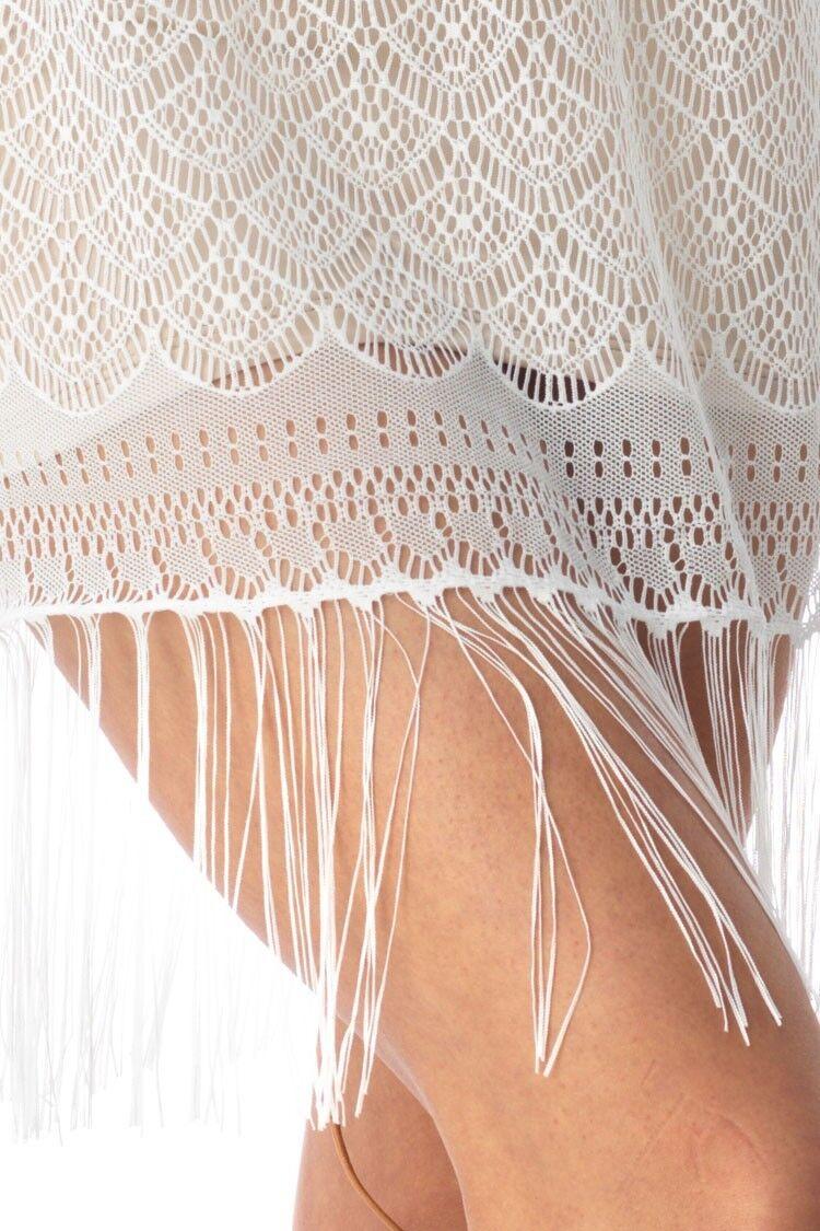 Sky Clothing Brand XS NWT Mini Dress Nude Lace Crochet Knit Fringe Beach Party