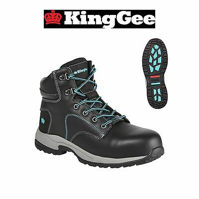Womens KingGee Tradie Zip Up Leather Safety Toe Boots Boot Work Gel Tough K27370