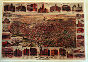 Hi-Q-XL-Format-Elliot-039-s-1891-Bird-039-s-Eye-Los-Angeles-Facsimile-Map-Poster-36x51