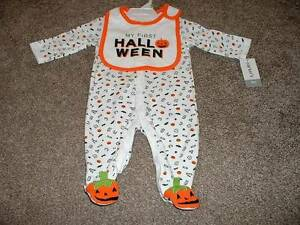 1161022b1 Carters Baby Boy 3 Months First Halloween Sleeper Bib Set Size 3M ...