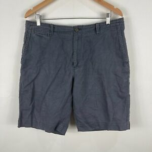 Gazman Mens Shorts 36 Grey Linen Blend Pockets