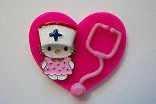 NURSE HELLO KITTY CAT RN NURSE MEDICAL EMT VETERINARIAN LPN STAFF REEL BADGE