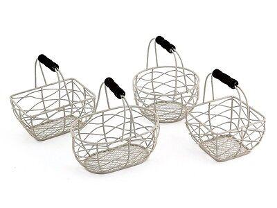 Small Wire Basket Shabby Off White Vintage Wedding Easter Egg Holder 4 Designs