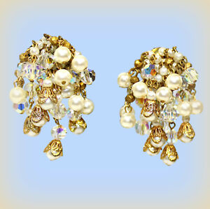 Vintage burst cluster clip earrings mint signed