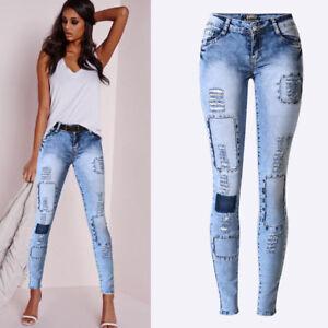 e616da871e Image is loading Pantalones-Jeans-De-Tiro-Alto-Para-Mujer-Rasgados-