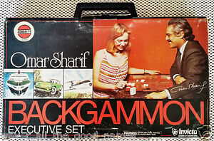 Kenbrite-OMAR-SHARIF-Invicta-BACKGAMMON-Executive-Set-1974-BOARD-GAME-E4165