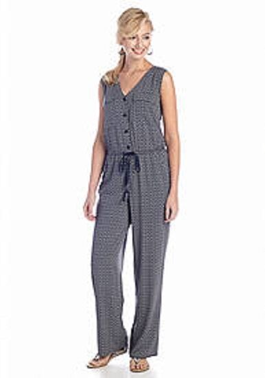 Sophie Max Studio Navy Ivory Button Front Geo Print Drawstring Jumpsuit XS  118