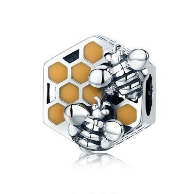 Honeycomb Honey Bee Square Charm <b>100</b>% <b>925 Sterling Silver</b> ...