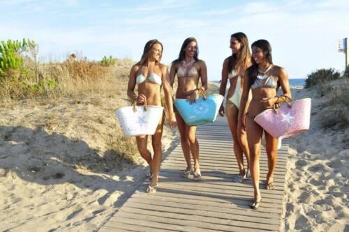 Veinte Estrella Medium Bag Ibiza Menta Raffia Ca Blanca violetas 53x30cm Beach 1gZ1OaU