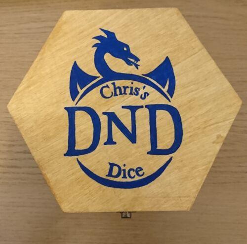 Custom oak effect large hexagonal dice box D/&D with custom design on lid