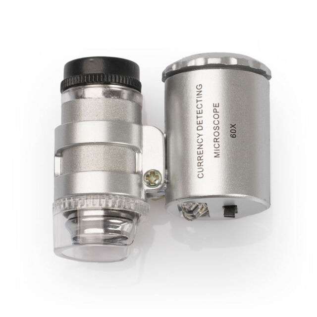 60x Lupe Mini Mikroskop Taschenlupe Taschenmikroskop Juwelierlupe Schmuck LED UV
