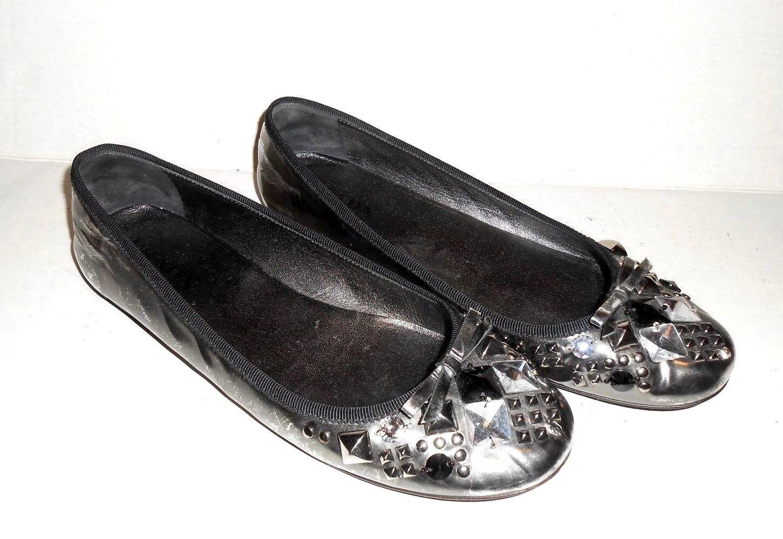 Women's PRADA Size 1/2 38 1/2 Size (US 8 1/2) Flat Shoes Silver Pewter & Black Jeweled febeba