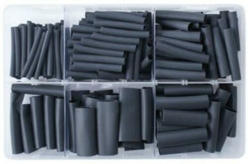 40 mm LONG HEATSHRINK TUBING BLACK ASSORTED BOX 3.0 mm TO 18 mm QTY 225