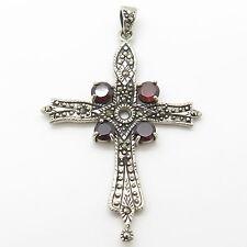 Vintage Sterling Silver Red Garnet Marcasite Gem Large Victorian Cross Pendant