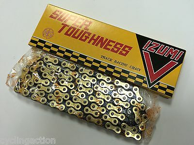 "Izumi V Super Toughness Gold//Black Track Bike Chain 1//2/""x1//8/"" NJS Keirin Approve"