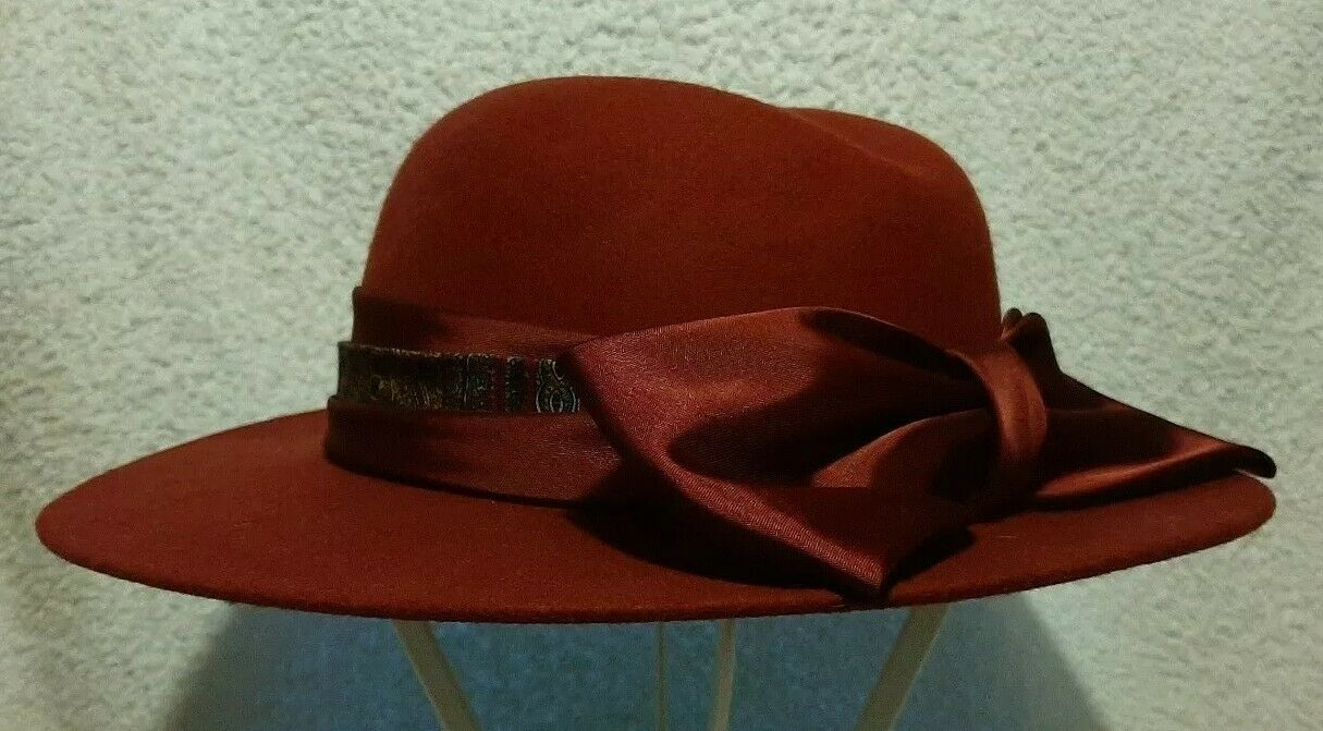 Right Impression Bill Horsman wine red wool felt fedora bow trim vintage hat NEW