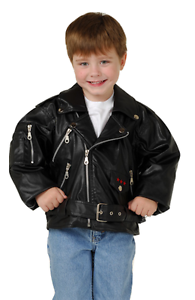 Toddler Black Biker Jacket Motorcycle Size 2T-7 Decals Realy Authentic