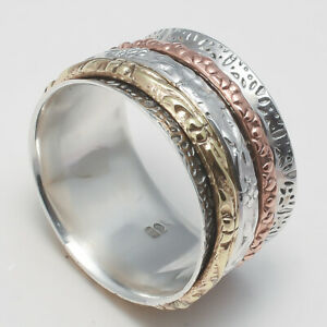 Solid 925 Sterling Silver Spinner Ring Meditation Statement Ring Size ss5499