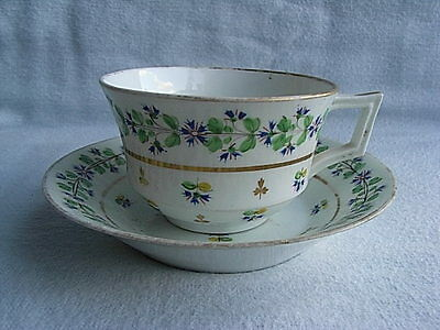 19thC Derby Porcelain Hand Painted Cup & Saucer