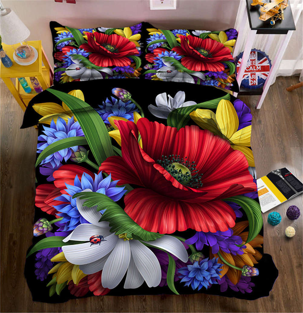 Delicate Flowers 3D Printing Duvet Quilt Doona Covers Pillow Case Bedding Sets