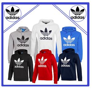 Adidas-Originals-Men-039-s-Trefoil-Fleece-HOODIE-Hooded-Sweatshirt-Jumper-Top-Zipper